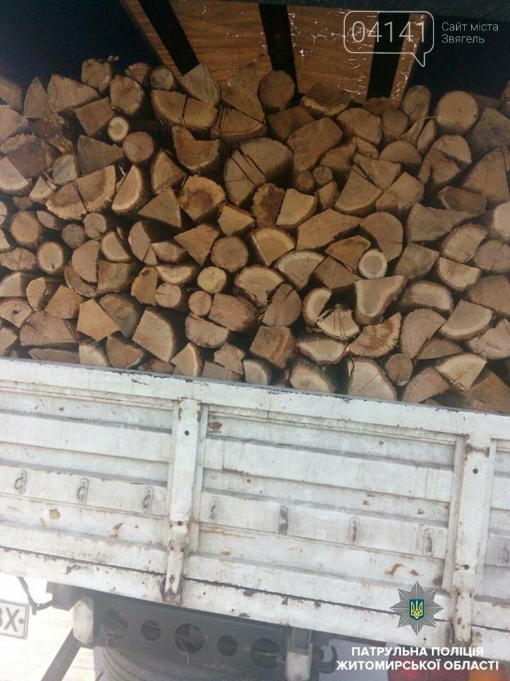 На Житомирщині затримали вантажівки, що перевозили деревину невідомого походження, фото-1