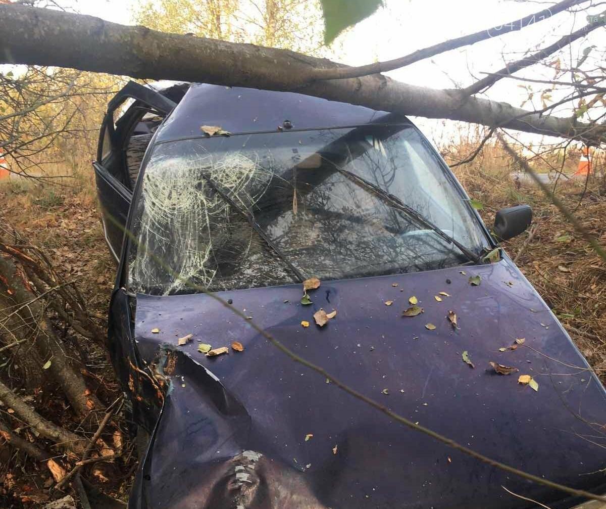 На автодорозі Новоград-Волинський – Шепетівка іномарка потрапила у кювет та зіткнулася з деревом , фото-1