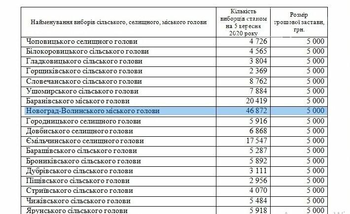 Скільки коштує застава кандидата на міського голову Новограда-Волинського, фото-1