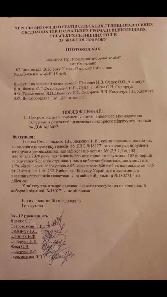 На скандальній дільниці на Новоград-Волинщині скасували результати виборів, фото-1